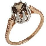 Золотое кольцо Шарлот с раухтопазом и фианитами