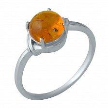 Серебряное кольцо Хемми с янтарем и элементами плетения