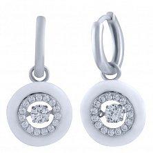 Серебряные серьги-подвески Фернанда с белой керамикой, фианитами и кристаллами Swarovski