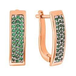 Позолоченные серебряные серьги с зелеными фианитами 000029031