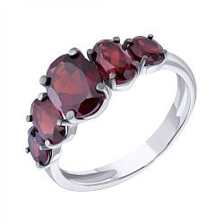 Серебряное кольцо Роберта с гранатом