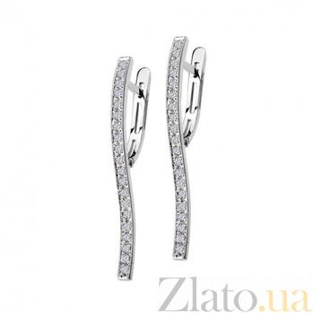 Золотые серьги с бриллиантами Джина KBL--С2216/бел/брил