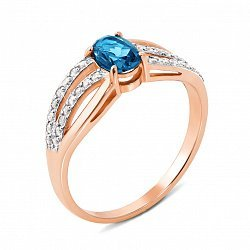 Золотое кольцо в комбинированном цвете с топазом и фианитами 000135234