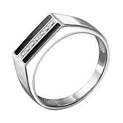 Срібний перстень-печатка з емаллю і цирконієм 000140632