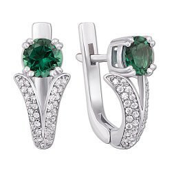 Серебряные серьги Юлиана с зеленым кварцем