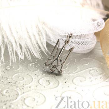 Родированная серебряная подвеска Патриотизм в форме трезубца 000013403