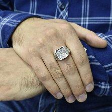 Серебряное кольцо-печатка Св. Николай с ликом, золотой накладкой и чернением