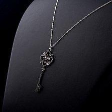 Серебряное колье Ключ к тайне с черными фианитами