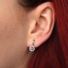 Серебряные серьги Мальвинка с черными и белыми фианитами