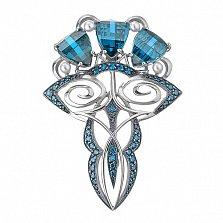 Серебряная брошь Влечение с голубыми фианитами и жемчугом