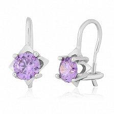 Серьги из серебра с фиолетовыми фианитами Анима