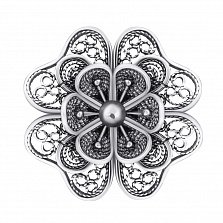 Серебряная брошка Ажурный цветок с чернением