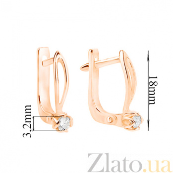 Золотые серьги с бриллиантами Марианна E 0696/крас