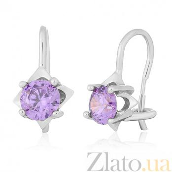Серьги из серебра с фиолетовыми фианитами Анима SLX--С2ФА/189