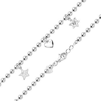 Срібний браслет з сердечком, зіркою, квіткою і цирконієм 000130362