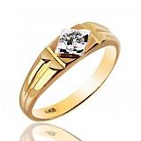 Печатка в желтом цвете золота с бриллиантом Магнетизм