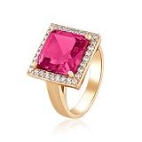 Золотое кольцо Север с корундом рубина и фианитами