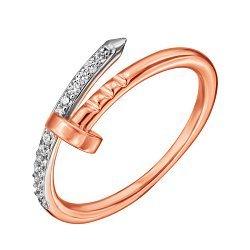 Кольцо Гвоздь из красного золота с фианитами и родированием 000129290