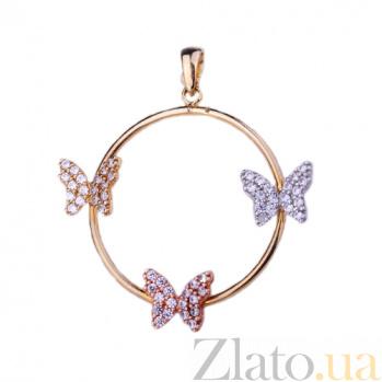 Золотая подвеска с фианитами Порхание бабочек ONX--п01266