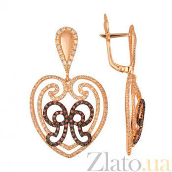 Серьги Валентина из красного золота с разноцветными камнями циркония VLT--ТТТ2358-2