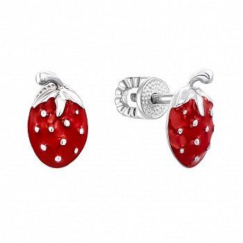 Серебряные серьги-пуссеты с красной эмалью 000134373