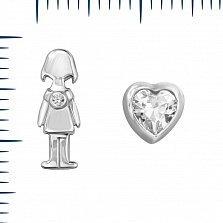 Серебрные серьги-пуссеты Милая девчушка с фианитами