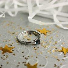 Золотое кольцо Миледи в белом цвете с сапфиром и бриллиантами