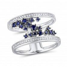Кольцо из белого золота Лусия с бриллиантами и сапфирами