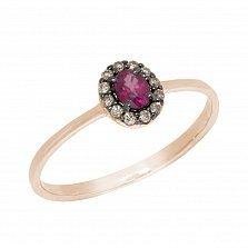 Кольцо в красном золоте Милена с рубином и бриллиантами