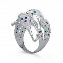 Серебряное кольцо Слоник с синтезированными корундами, шпинелью и фианитами