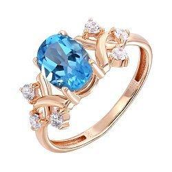 Кольцо из красного золота с топазом и фианитами 000141240