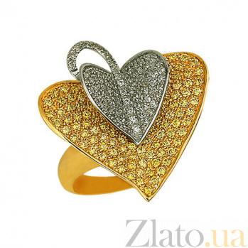 Кольцо из желтого и белого золота Листочек с фианитами VLT--ТТ1032-1