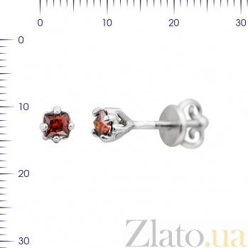 Серебряные серьги-пуссеты Мэг с красным цирконием 000081808