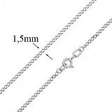 Серебряная цепочка покрытая родием Отелло, 1,5 мм