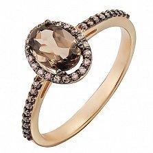 Золотое кольцо Верона с раухтопазом и фианитами