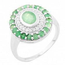 Серебряное кольцо Хелена с изумрудом и фианитами