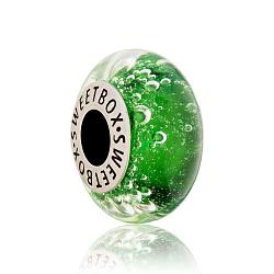 Серебряный шарм Зеленые глубины с муранским стеклом