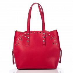 Кожаная сумка на каждый день Genuine Leather 8657 красного цвета с дополнительной сумкой-вкладышем