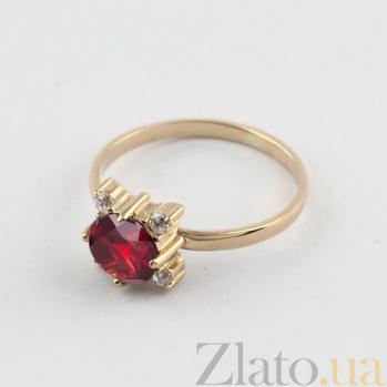 Золотое кольцо с гранатом и фианитами Ванда 000027264
