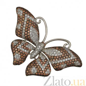 Золотая подвеска Бабочка с цирконием VLT--ТТ3367