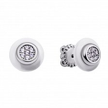 Серебряные серьги-пуссеты Сайма с белыми керамикой и фианитами