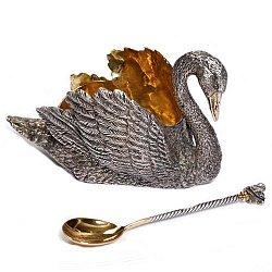 Серебряная паштетница Царский лебедь с позолотой