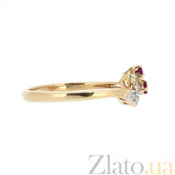 Кольцо из красного золота с рубинами и бриллиантами Брай ZMX--RR-15753_K