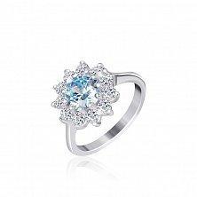 Серебряное кольцо с голубым фианитом Мишель