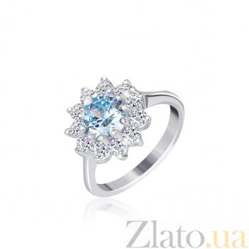 Серебряное кольцо с голубым фианитом Мишель 000025472