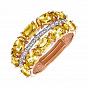 Кольцо из красного золота с цитринами и фианитами 000135584