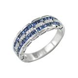 Золотое кольцо с сапфирами и бриллиантами Параллели