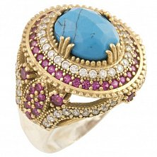 Кольцо из серебра и бронзы Джессика с бирюзой, рубинами и фианитами