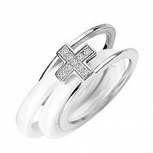 Серебряное кольцо Крестик с белой керамикой и фианитами