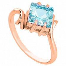 Золотое кольцо Ирэна с голубым топазом
